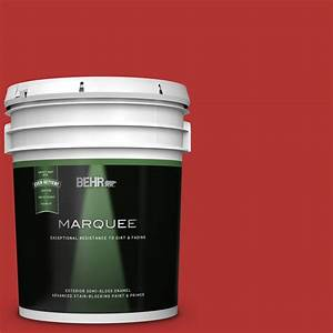 Concrete Stain Color Chart Behr Behr Marquee 5 Gal 170b 7 Red Tomato Semi Gloss Enamel