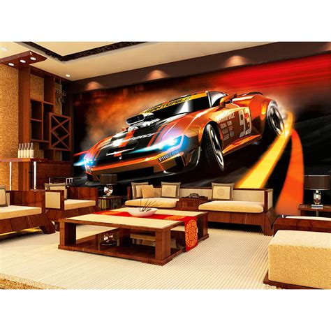 2016 High Quality 3d Dynamic Sports Car Mural Wallpaper
