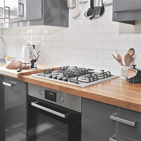 grey and white kitchen tiles grey gloss and white kitchen decorating ideal home 6958