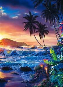 Fototapete Auf Raufaser : wandbild sonnenuntergang palmen insel fototapete 4 teile ~ Markanthonyermac.com Haus und Dekorationen