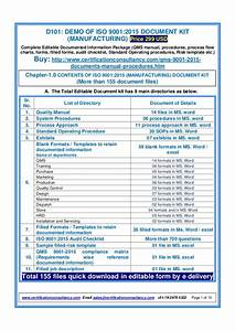 iso 9001 procedures templates - demo of iso 9001 2015 document kit manufacturing