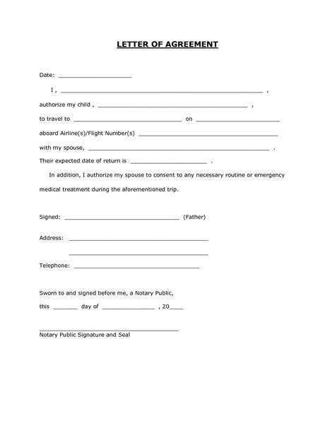 letter template  permission    child travel