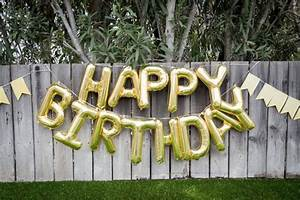 happy birthday balloon banner goldbirthday partyletter With letter balloons michaels