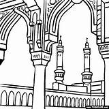 Coloring Pages Makkah Drawing Mecca Saudi Arabia Famous Landscape Landmark Landmarks Clipart Sheets Many Masjid Places History Colored Place Save sketch template
