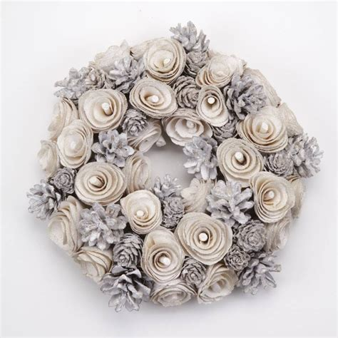 white pinecone christmas wreath   red heart