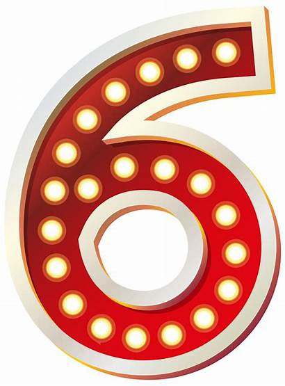 Six Number Clip Clipart Numbers Lights Fancy