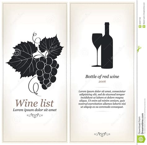 wine list design stock photography image