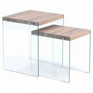 Table Basse Gigogne Verre : table basse gigogne ch ne clair et verre ~ Teatrodelosmanantiales.com Idées de Décoration