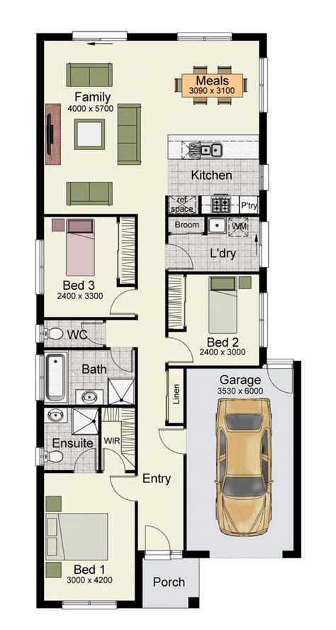 single story home floor plan   bedrooms   square meters porch house plans house