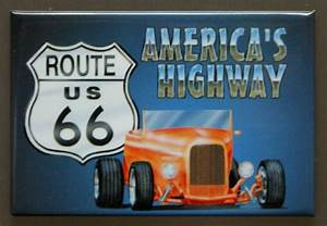 Us Route 66 Americas Highway Fridge Magnet Hot Rod Garage