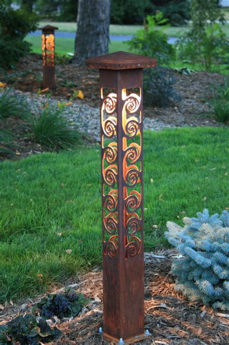 swirls 4x4 bollard by driveway entrance eclectic outdoor lighting minneapolis by