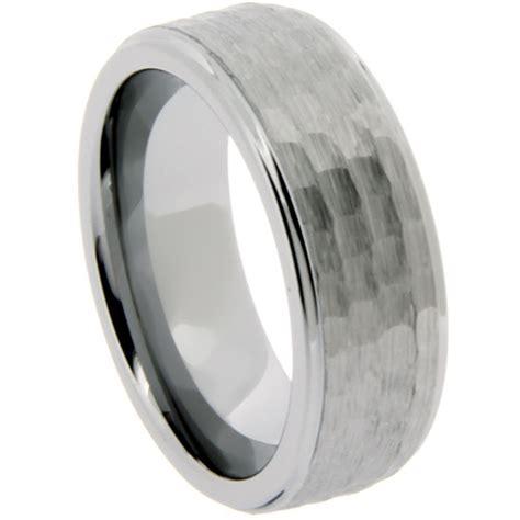 Men's 8mm Tungsten Wedding Band Ring Hammered Finish · J