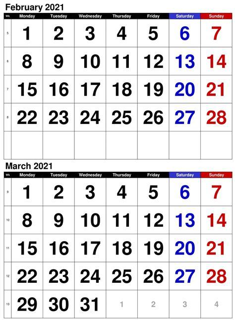 editable february march  calendar printable excel