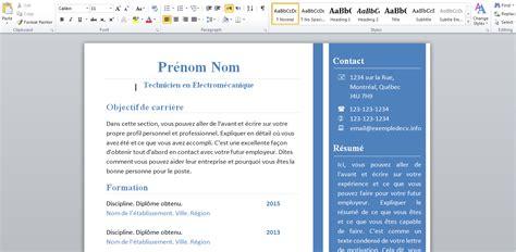 Exemple De Cv Word 2015 by Docx Exemple Cv 2015 Word Pour Technicien En