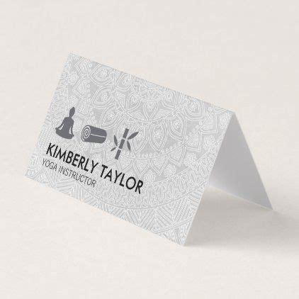 yoga instructor tribal pattern meditation business card