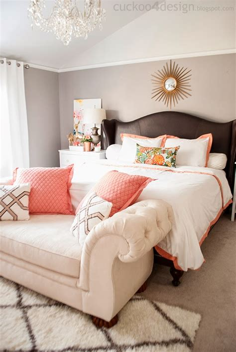Coral Color Bedroom Accents by Copper Coral And Blush Bedroom Update Cuckoo4design