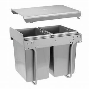 Poubelle Tri Selectif 2 Bacs : poubelle coulissante pour tri s lectif 2 bacs 20 litres ~ Dailycaller-alerts.com Idées de Décoration