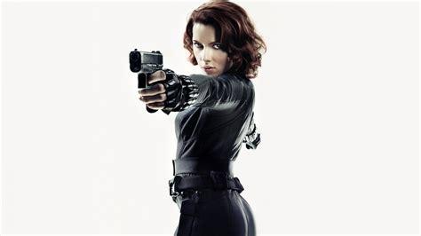 full hd wallpaper scarlett johansson gun black widow