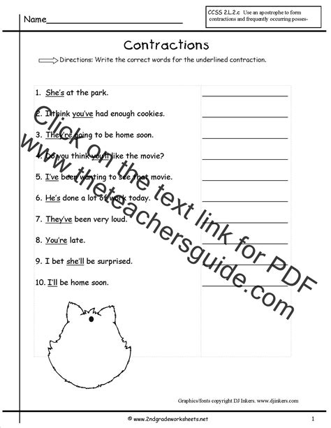 contractions worksheets  printouts