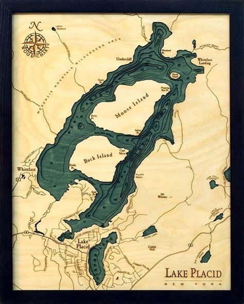 lake placid nautical topographic art bathymetric wood chart