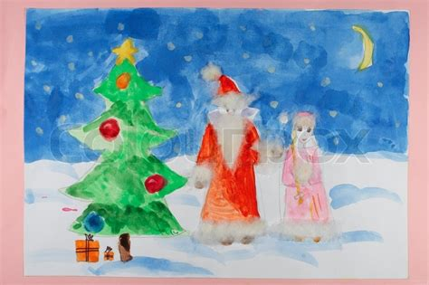 santa claus with christmas tree a child s drawing and