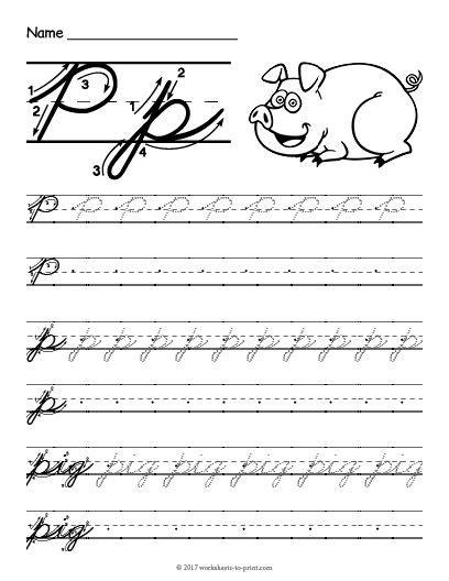 Free Printable Cursive P Worksheet  Cursive Writing Worksheets