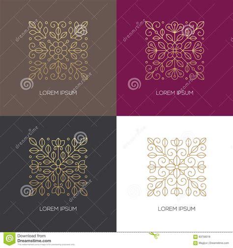 four square linear floral logo stock vector illustration of square design 83756019