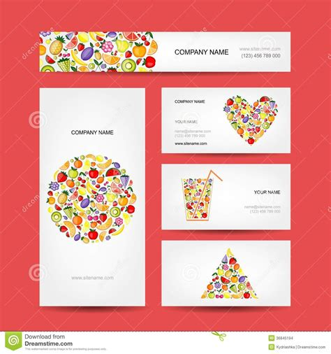business cards design fruit collection stock images
