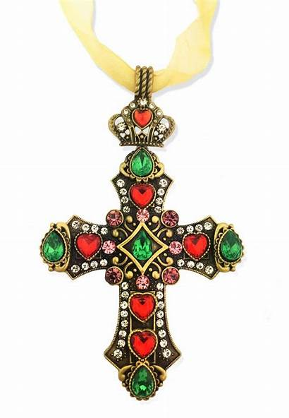 Jeweled Cross Ornament Ribbon Gold Finish Antique