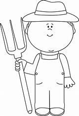 Farmer Clipart Outline Boy Clip Farm Pitchfork Transparent Hay Mycutegraphics Preschool Senior Clipartkid sketch template