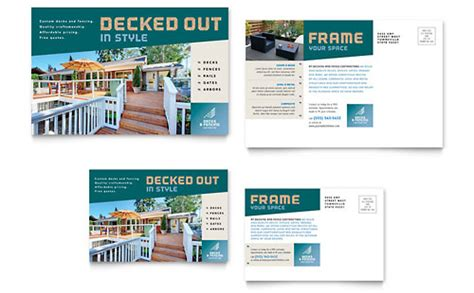 decks fencing flyer ad template design
