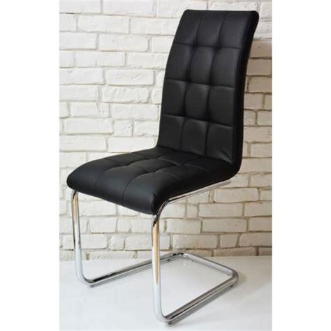 chaise moderne capiton simili cuir noir