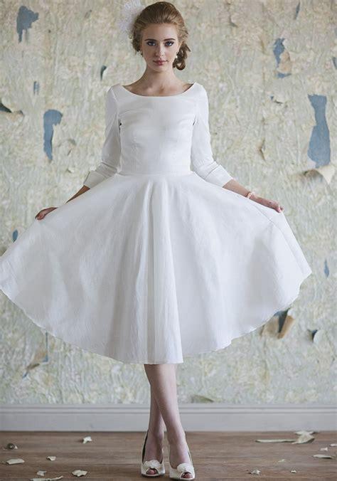 elegant   jewel length sleeves tea length wedding