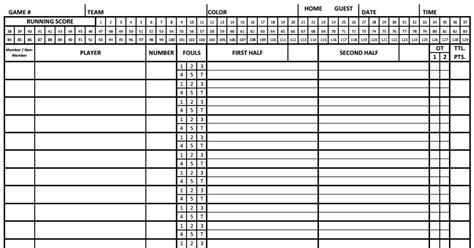 basketball score sheet
