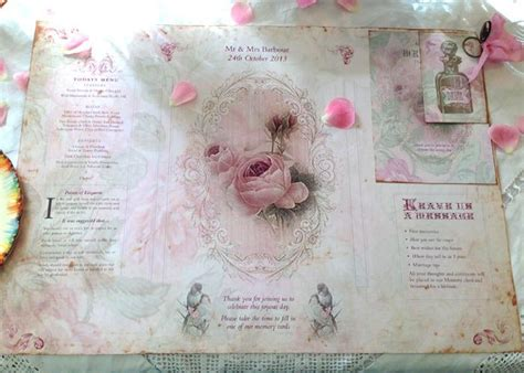 wedding place table mat  pink rose shabby chic theme