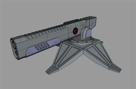 Futuristic Railgun Turret 3d model Object files free