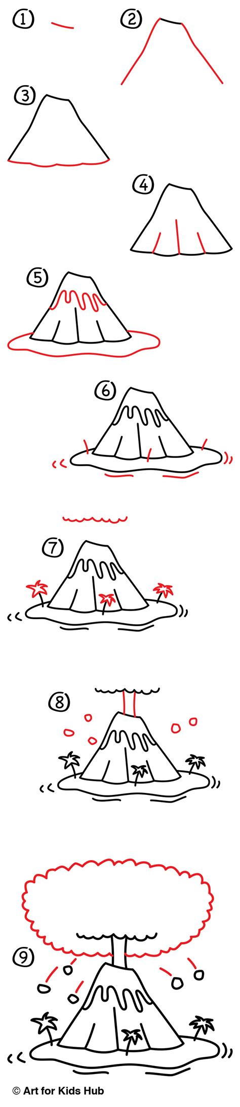 How To Draw A Volcano Art For Kids Hub Earth Unit
