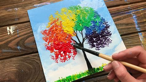 Artcart 59.309 views6 months ago. Rainbow Tree | Acrylic Painting For Beginners | How to Paint a Simple Acrylic Painting - YouTube