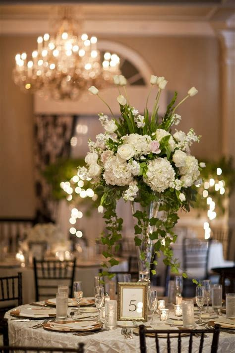 classic white  gold wedding wedding floral
