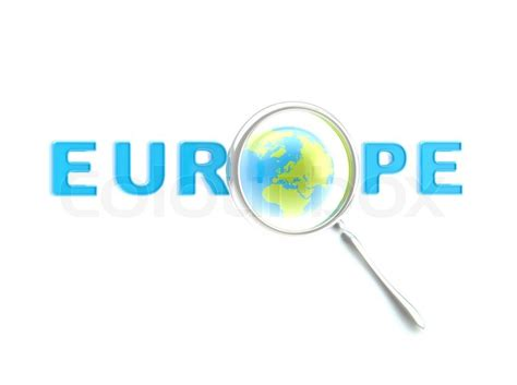 word europe   magnifier stock image