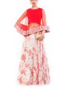 anju agarwal rose printed skirt  cape set shop