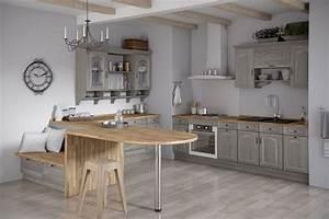 Meuble cuisine bois gris le bois chez vous for Idee deco cuisine avec meuble salle a manger chene blanchi
