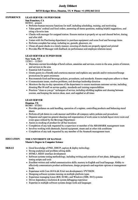 Resume Server by 10 Server Resume Skills Exles Sle