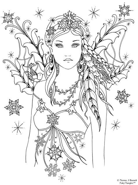 Snowbird Fairy Tangles Printable 4x6 inch Digi Stamp