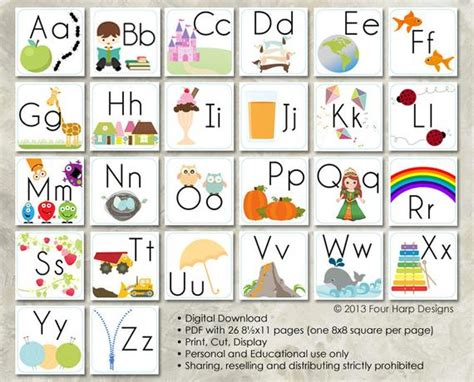 alphabet wall cards diy printable  preschool early