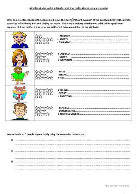 6 free esl modifiers worksheets