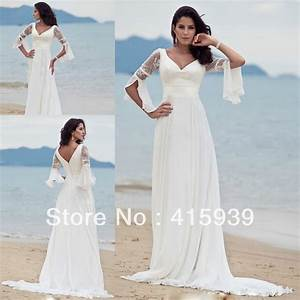 high quality white a line deep v neck court train long With white dress for beach wedding guest
