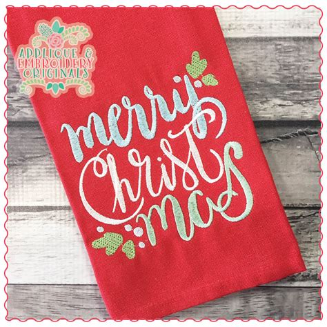 merry christmas embroidery design applique