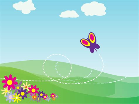 How To Design A Poster Board Presentation Cartoon Butterfly And Flowers Backgrounds Flowers Nature Templates Free Ppt Backgrounds And
