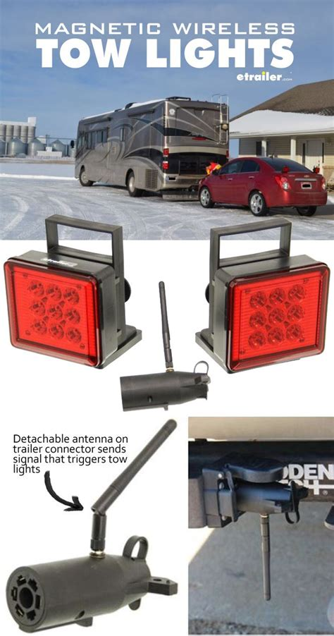 pilot magnetic tow lights leds 4 way flat and 7 way rv connector wireless pilot